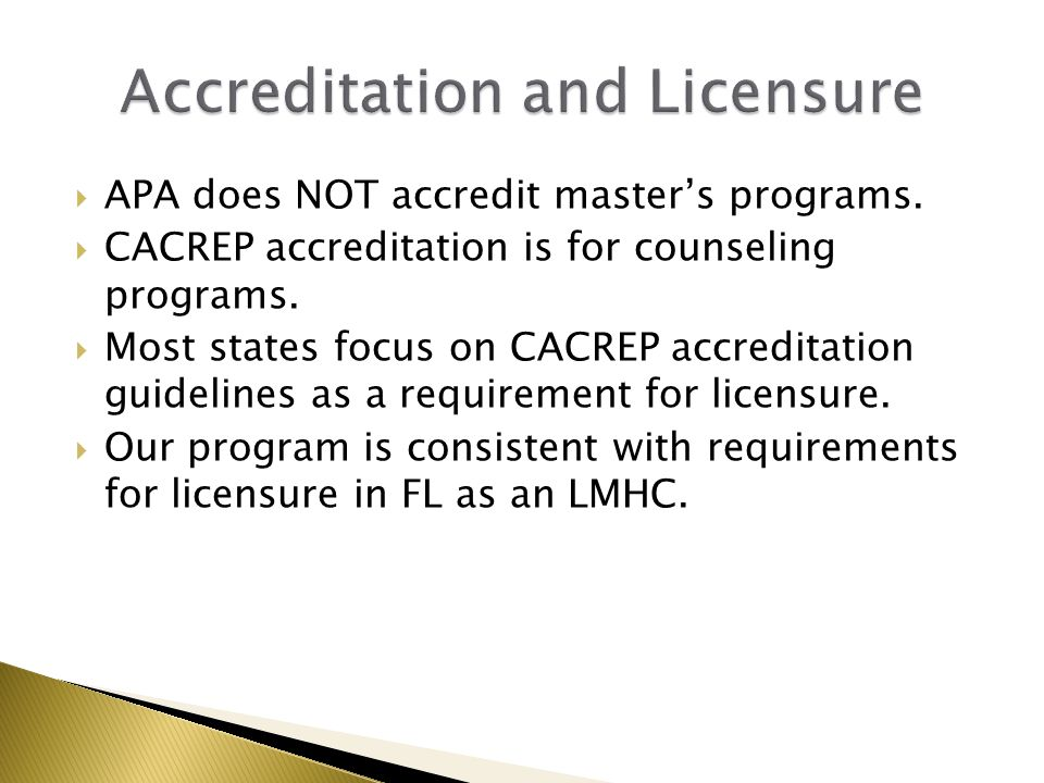  APA does NOT accredit master's programs.  CACREP accreditation is for counseling programs.