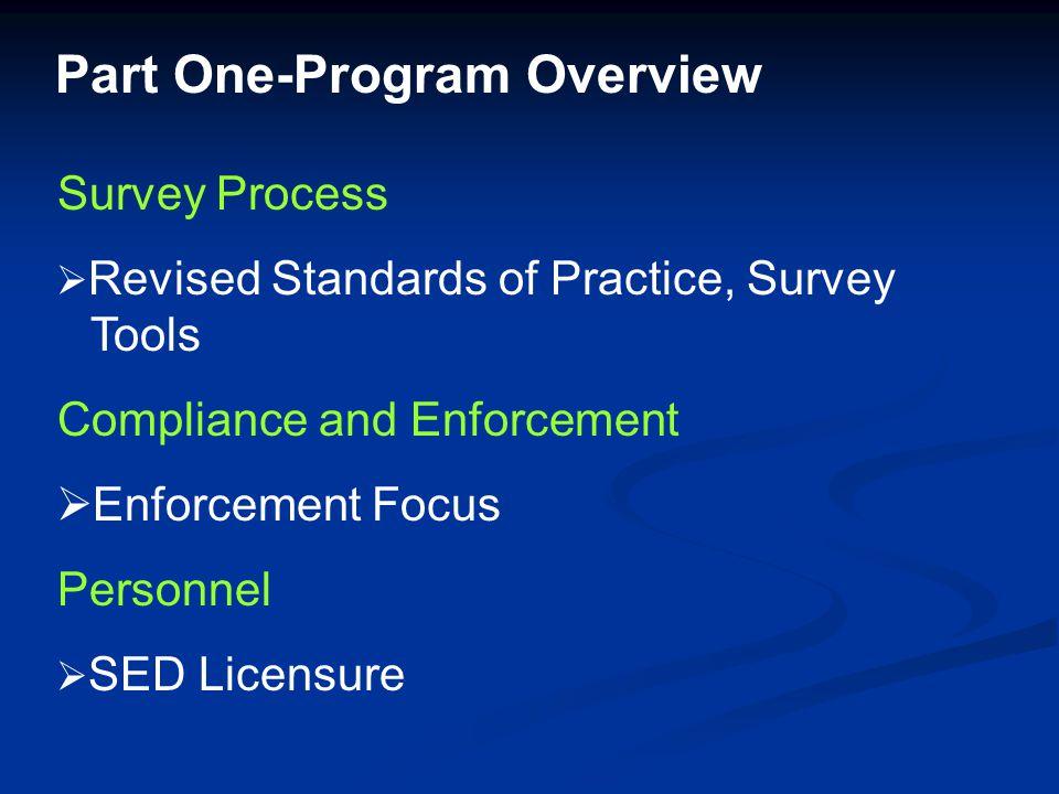 Survey Process  Revised Standards of Practice, Survey Tools Compliance and Enforcement  Enforcement Focus Personnel  SED Licensure Part One-Program Overview