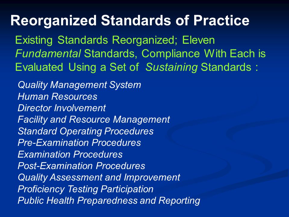 Reorganized Standards of Practice Quality Management System Human Resources Director Involvement Facility and Resource Management Standard Operating P