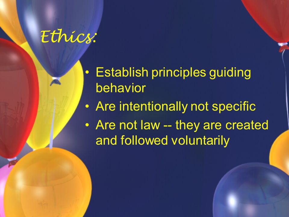 Values-Based Ethics The VBE practitioner: Develops ethical principles based on the current code as well as moral decisions about how the code is applied This professional reflects deeply on the impact of his/her behavior on various groups within society as well as the community as a whole