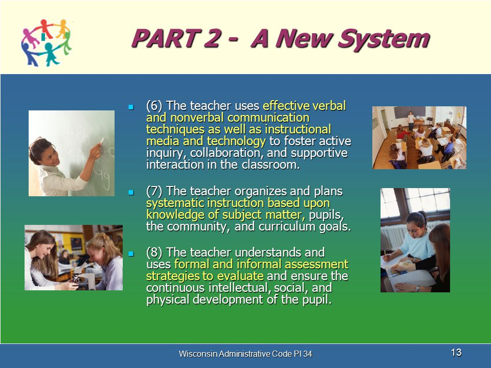 Wisconsin Administrative Code PI 34 13 PART 2 - A New System (6) The teacher uses effective verbal and nonverbal communication techniques as well as i