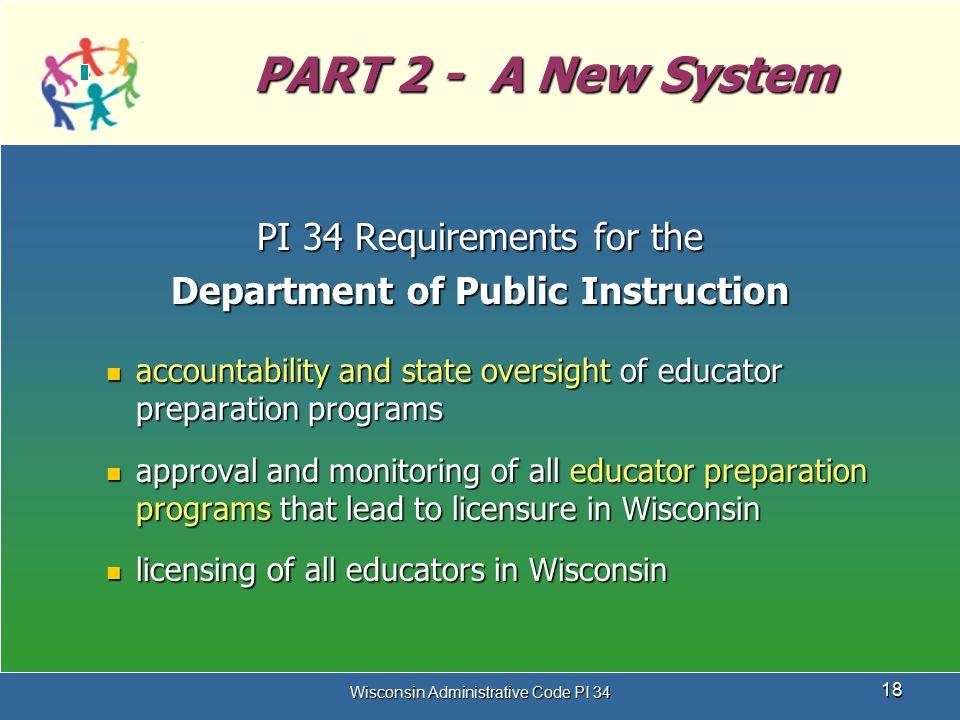 Wisconsin Administrative Code PI 34 18 PART 2 - A New System PI 34 Requirements for the Department of Public Instruction accountability and state over