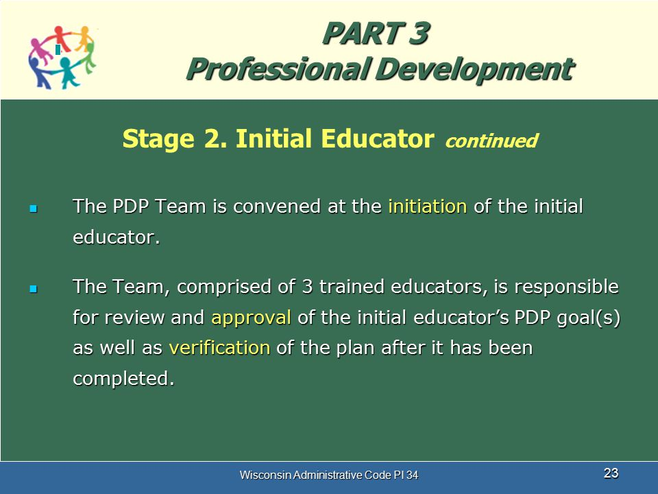 Wisconsin Administrative Code PI 34 23 PART 3 Professional Development Stage 2. Initial Educator continued The PDP Team is convened at the initiation