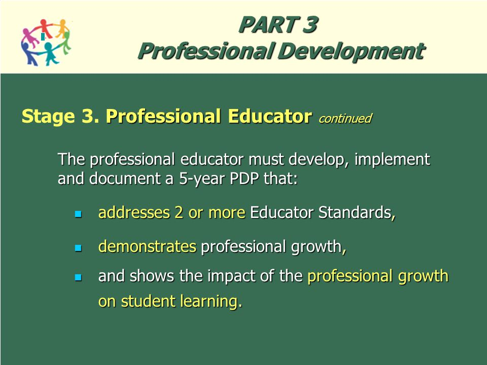 Wisconsin Administrative Code PI 34 27 PART 3 Professional Development The professional educator must develop, implement and document a 5-year PDP tha