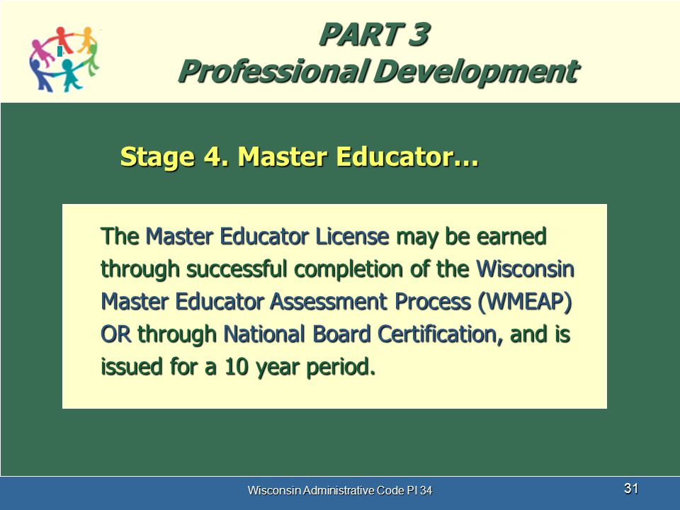 Wisconsin Administrative Code PI 34 31 PART 3 Professional Development Stage 4. Master Educator… The Master Educator License may be earned through suc