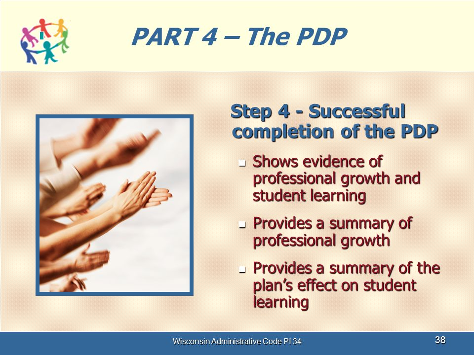 Wisconsin Administrative Code PI 34 38 PART 4 – The PDP Step 4 - Successful completion of the PDP Step 4 - Successful completion of the PDP Shows evid