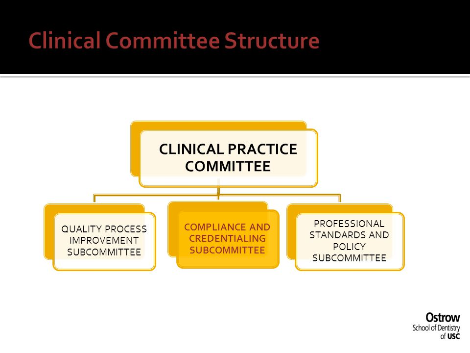 The Compliance and Credentialing Sub-Committee will, under the oversight of the CPC: 1)review and act upon all information received during the credentialing and re-credentialing process as defined by the School's policy for the granting, renewing, changing or terminating a practitioner's clinical practice privileges; 2)oversee the implementation of the School's compliance program developed as part of the University s Healthcare Compliance Program.
