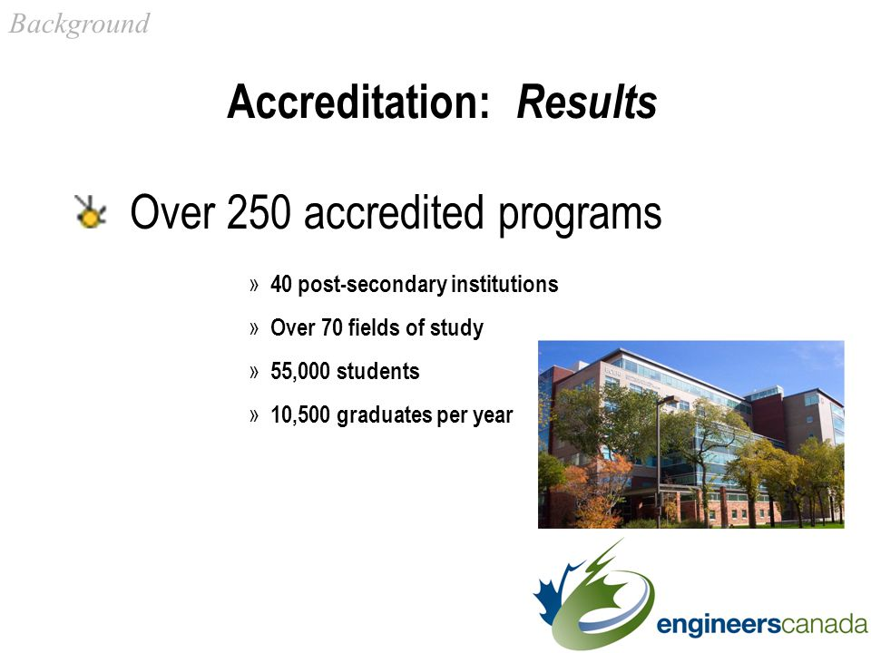 Accreditation: Results Over 250 accredited programs » 40 post-secondary institutions » Over 70 fields of study » 55,000 students » 10,500 graduates per year Background