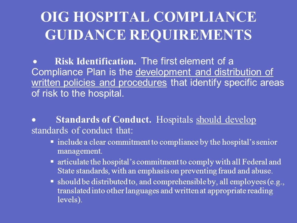 OIG HOSPITAL COMPLIANCE GUIDANCE REQUIREMENTS  Risk Identification.