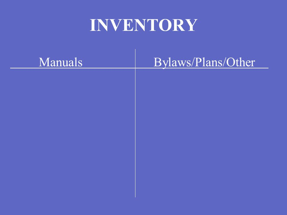 INVENTORY ManualsBylaws/Plans/Other