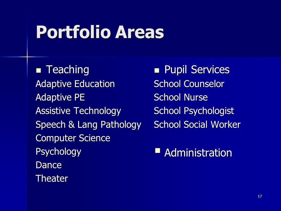 17 Portfolio Areas Teaching Teaching Adaptive Education Adaptive PE Assistive Technology Speech & Lang Pathology Computer Science PsychologyDanceTheat