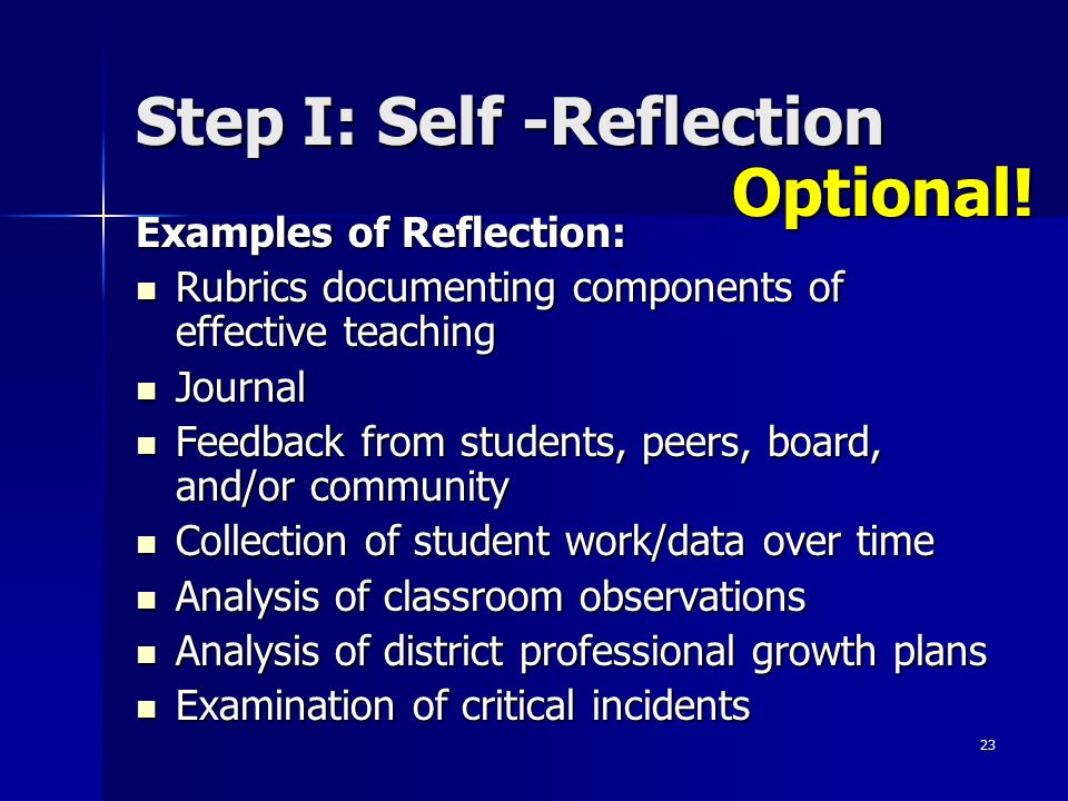 23 Step I: Self -Reflection Examples of Reflection: Rubrics documenting components of effective teaching Rubrics documenting components of effective t