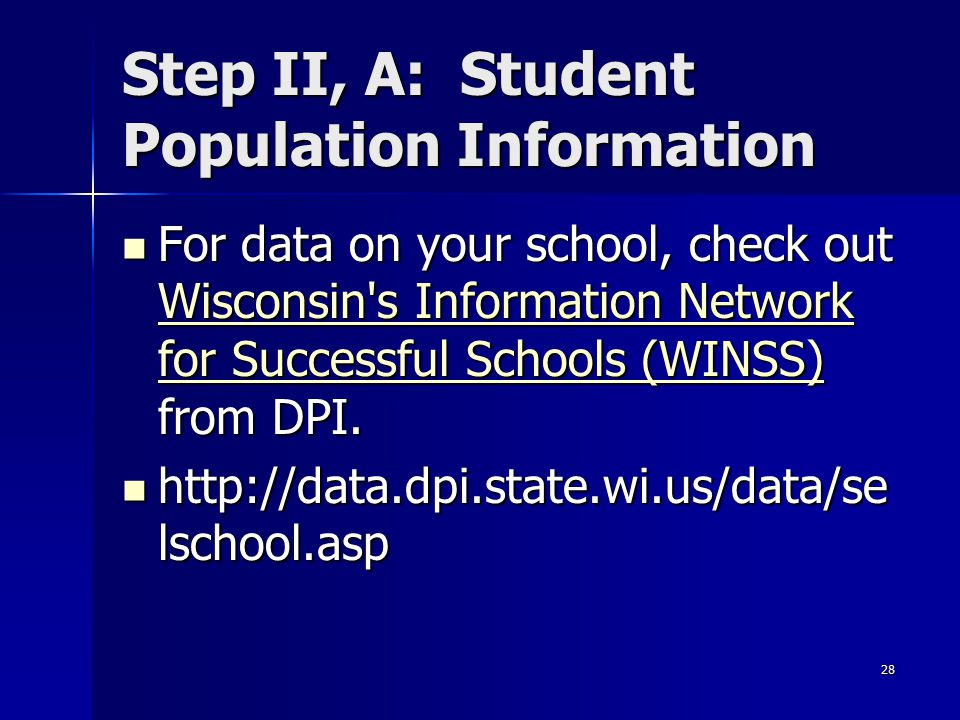 28 Step II, A: Student Population Information For data on your school, check out Wisconsin's Information Network for Successful Schools (WINSS) from D