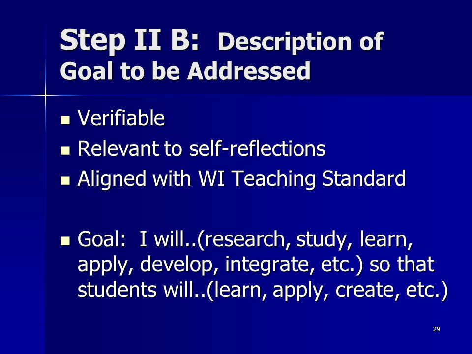 29 Step II B: Description of Goal to be Addressed Verifiable Verifiable Relevant to self-reflections Relevant to self-reflections Aligned with WI Teac