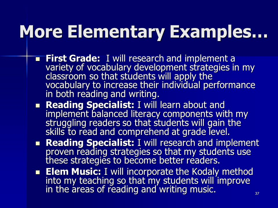 37 First Grade: I will research and implement a variety of vocabulary development strategies in my classroom so that students will apply the vocabular