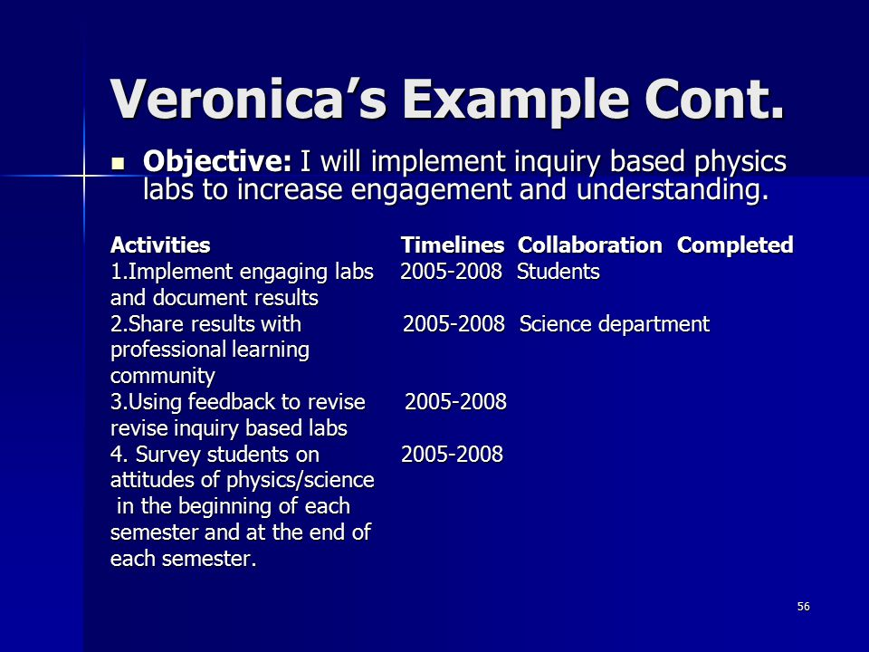 56 Veronica's Example Cont. Objective: I will implement inquiry based physics labs to increase engagement and understanding. Objective: I will impleme