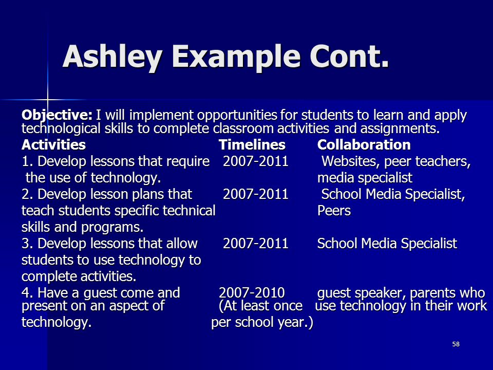 58 Ashley Example Cont. Objective: I will implement opportunities for students to learn and apply technological skills to complete classroom activitie