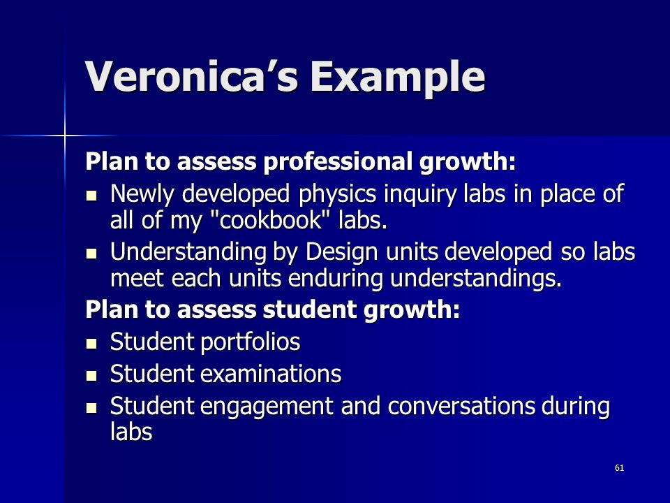 61 Veronica's Example Plan to assess professional growth: Newly developed physics inquiry labs in place of all of my