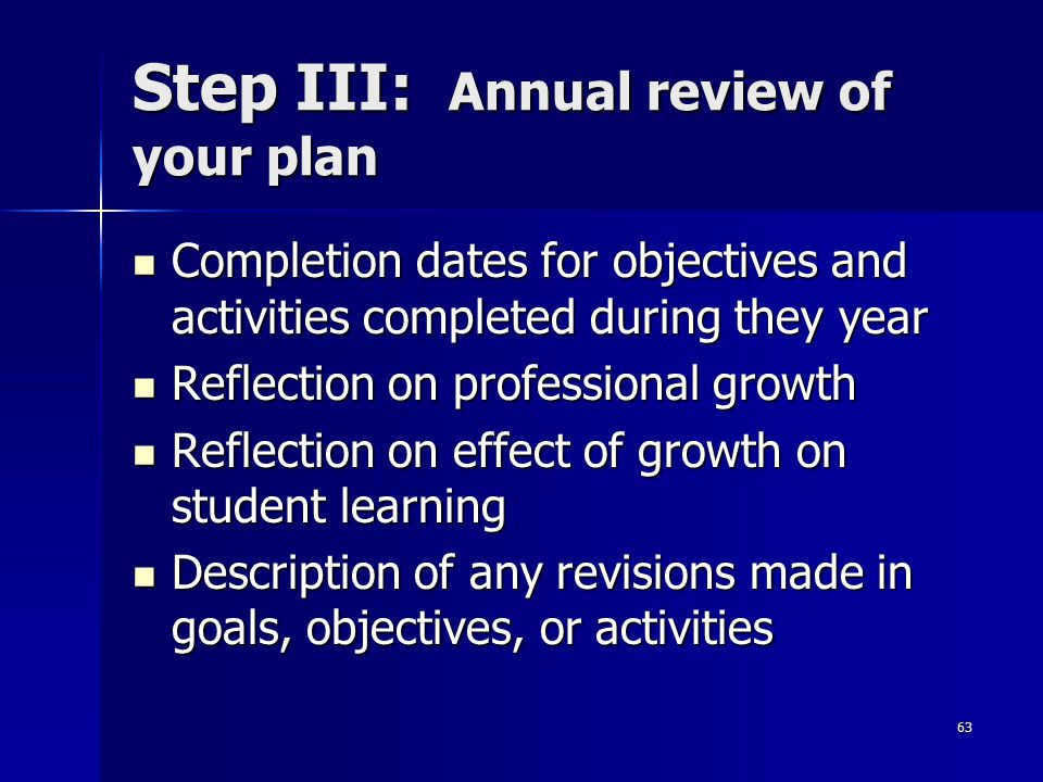 63 Step III: Annual review of your plan Completion dates for objectives and activities completed during they year Completion dates for objectives and