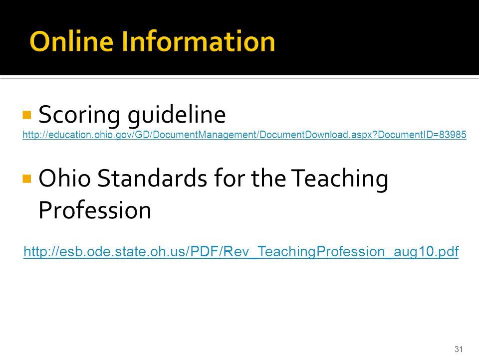  Scoring guideline  Ohio Standards for the Teaching Profession 31 http://education.ohio.gov/GD/DocumentManagement/DocumentDownload.aspx DocumentID=83985 http://esb.ode.state.oh.us/PDF/Rev_TeachingProfession_aug10.pdf