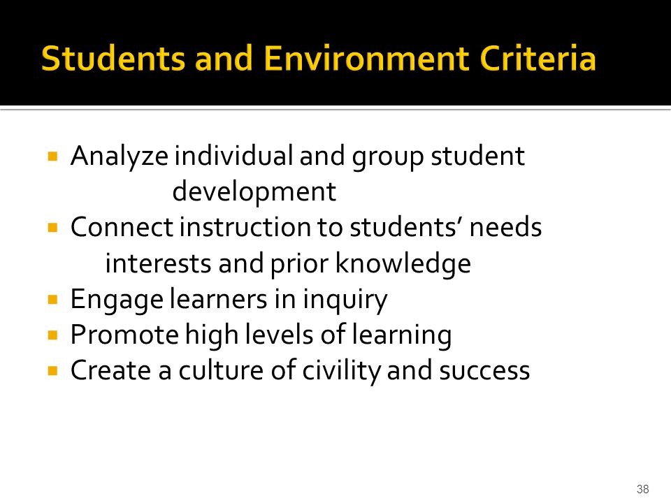  Analyze individual and group student development  Connect instruction to students' needs interests and prior knowledge  Engage learners in inquiry  Promote high levels of learning  Create a culture of civility and success 38