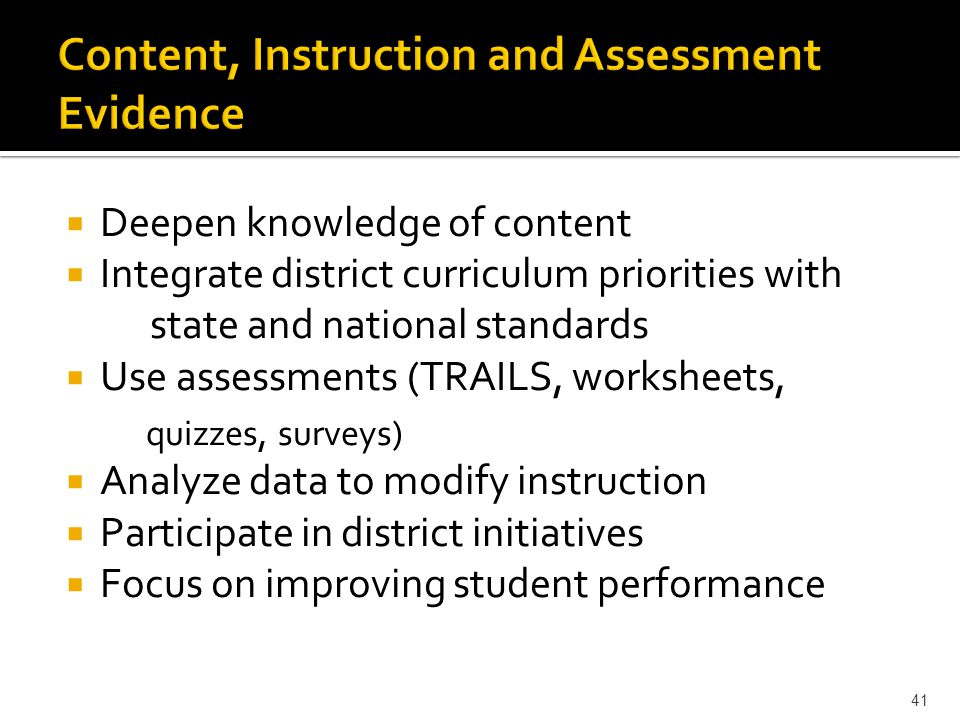  Deepen knowledge of content  Integrate district curriculum priorities with state and national standards  Use assessments (TRAILS, worksheets, quizzes, surveys)  Analyze data to modify instruction  Participate in district initiatives  Focus on improving student performance 41