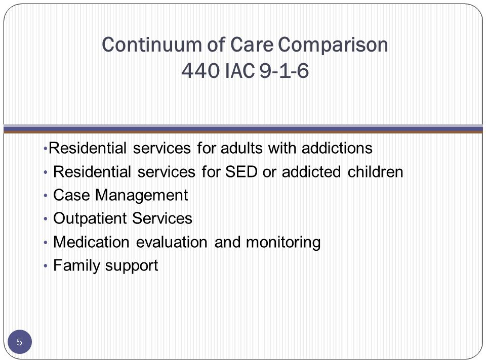 Continuum of Care Comparison 440 IAC 9-1-6 Residential services for adults with addictions Residential services for SED or addicted children Case Management Outpatient Services Medication evaluation and monitoring Family support 5
