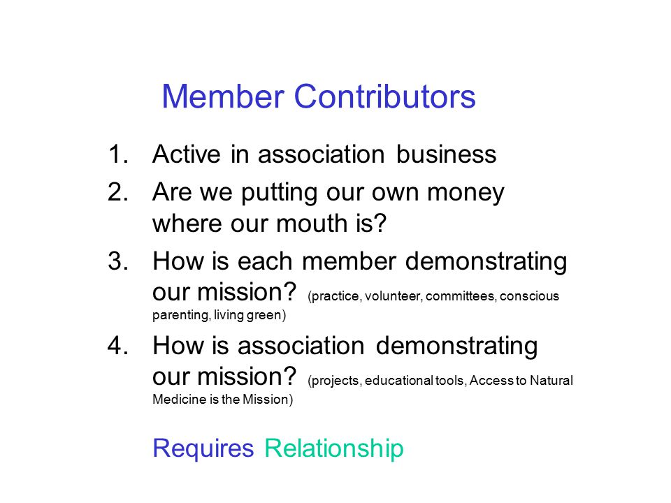Member Contributors 1. Active in association business 2.