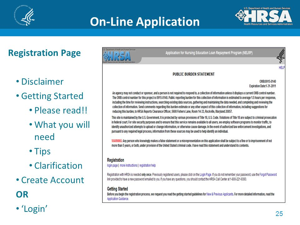 25 On-Line Application Registration Page Disclaimer Getting Started Please read!.