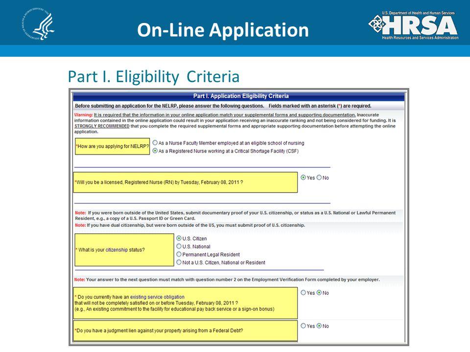 On-Line Application Part I. Eligibility Criteria