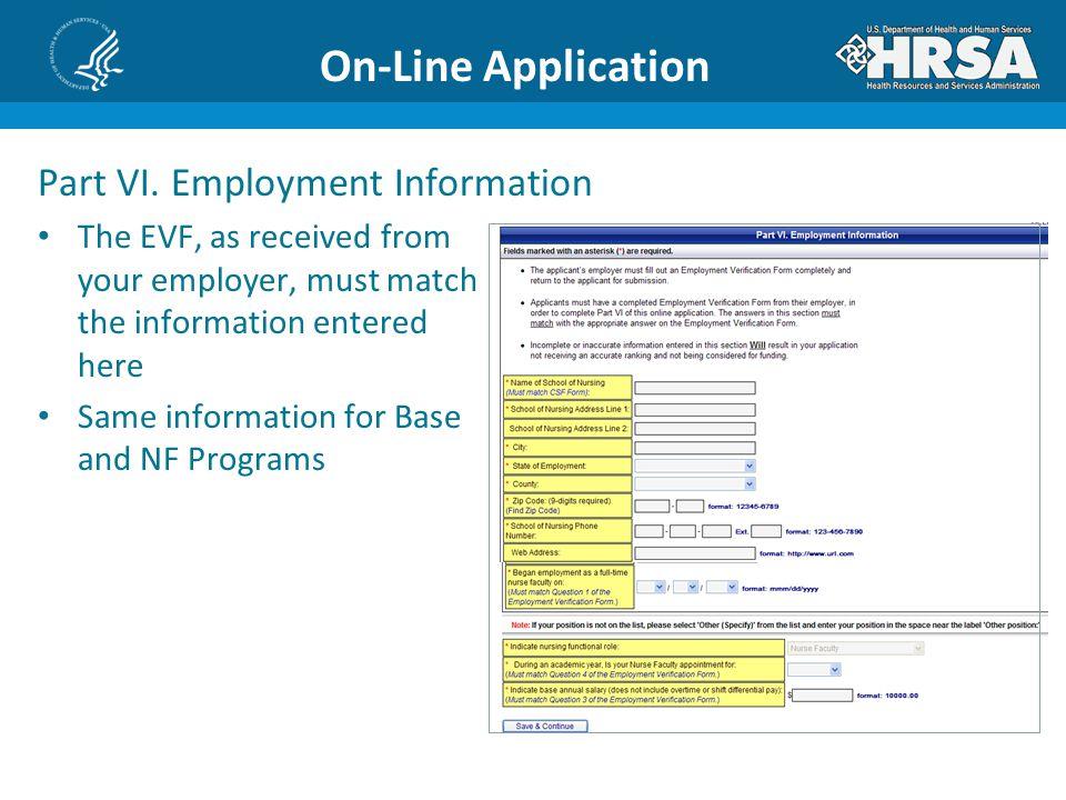 On-Line Application Part VI.