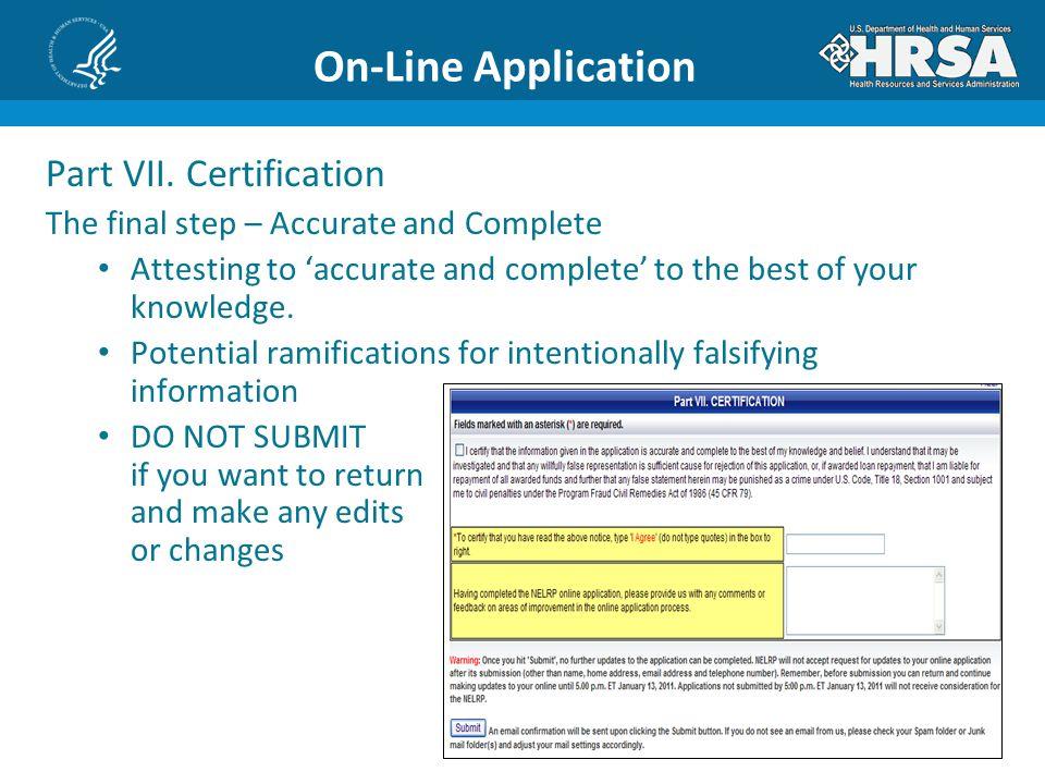 On-Line Application Part VII.