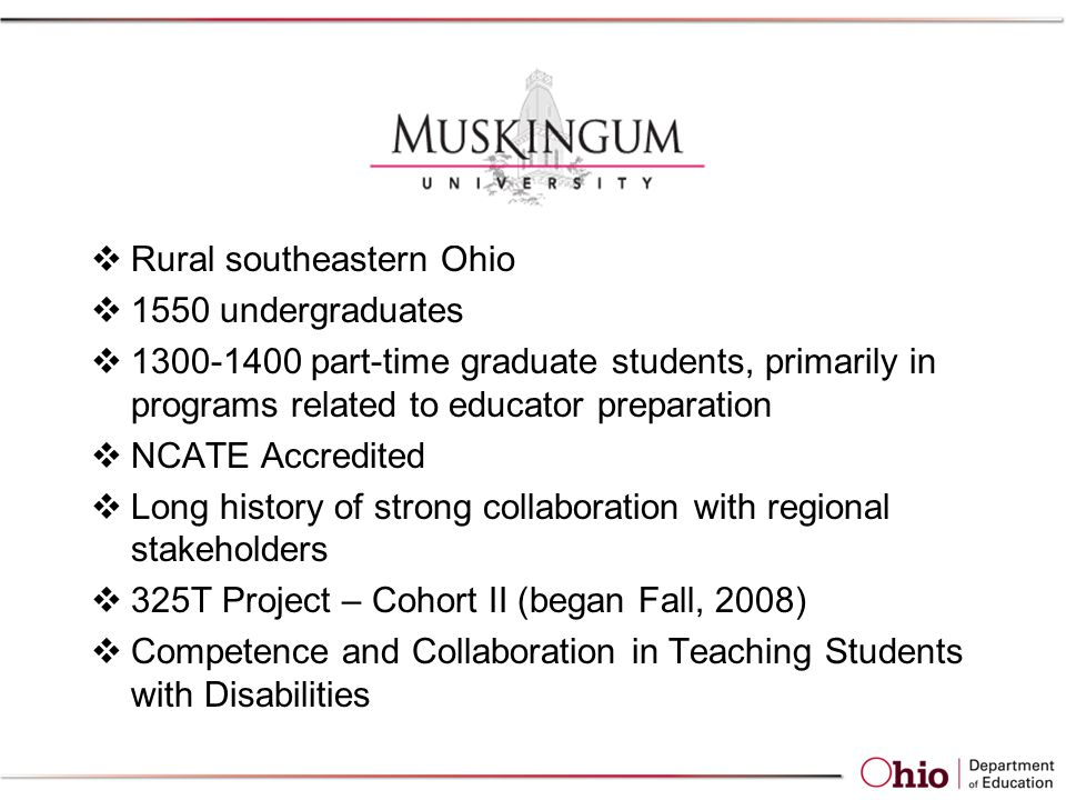  Rural southeastern Ohio  1550 undergraduates  1300-1400 part-time graduate students, primarily in programs related to educator preparation  NCATE Accredited  Long history of strong collaboration with regional stakeholders  325T Project – Cohort II (began Fall, 2008)  Competence and Collaboration in Teaching Students with Disabilities
