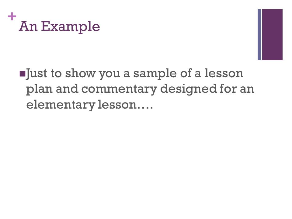 + An Example Just to show you a sample of a lesson plan and commentary designed for an elementary lesson….