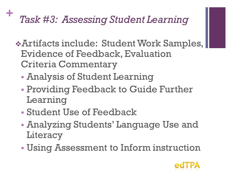 + Task #3: Assessing Student Learning  Artifacts include: Student Work Samples, Evidence of Feedback, Evaluation Criteria Commentary  Analysis of Student Learning  Providing Feedback to Guide Further Learning  Student Use of Feedback  Analyzing Students' Language Use and Literacy  Using Assessment to Inform instruction