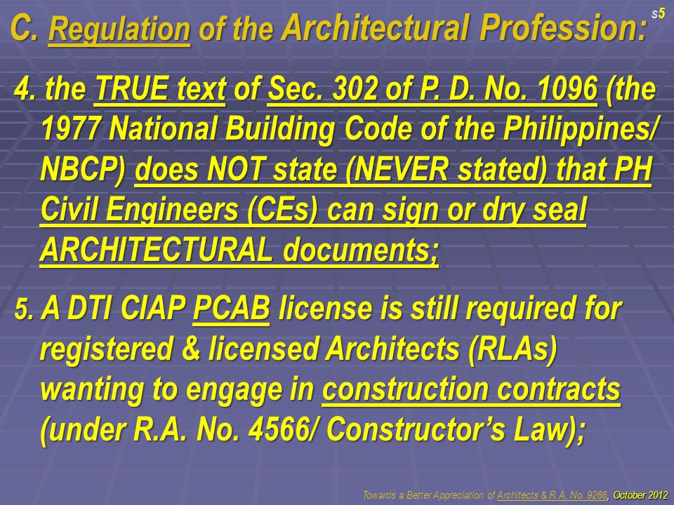 C. Regulation of the Architectural Profession: 4.