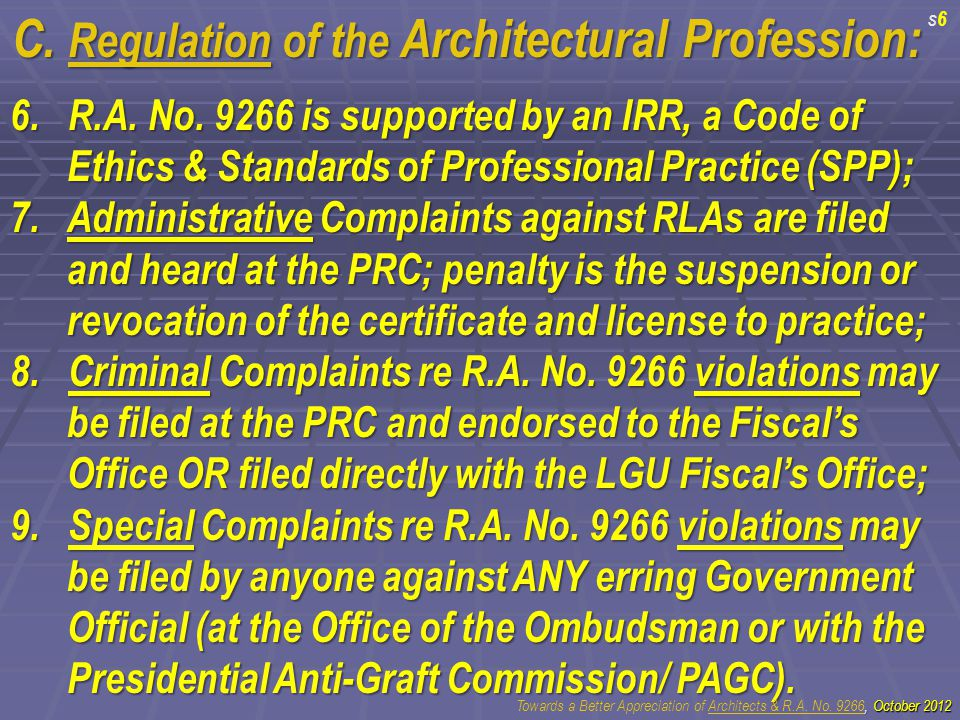 C. Regulation of the Architectural Profession: 6.