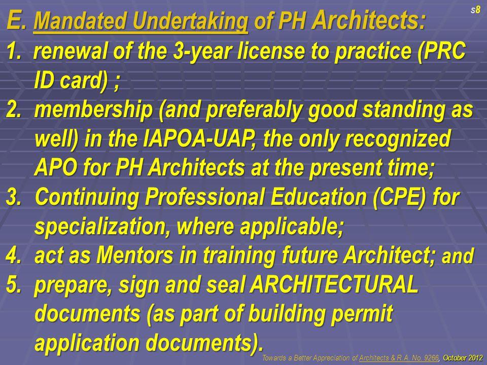 E. Mandated Undertaking of PH Architects: 1.