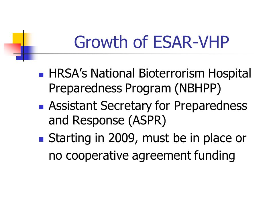 Growth of ESAR-VHP HRSA's National Bioterrorism Hospital Preparedness Program (NBHPP) Assistant Secretary for Preparedness and Response (ASPR) Starting in 2009, must be in place or no cooperative agreement funding