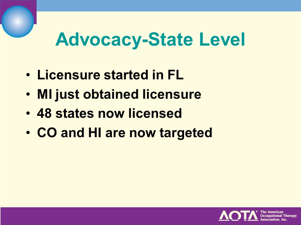 Advocacy-State Level Licensure started in FL MI just obtained licensure 48 states now licensed CO and HI are now targeted