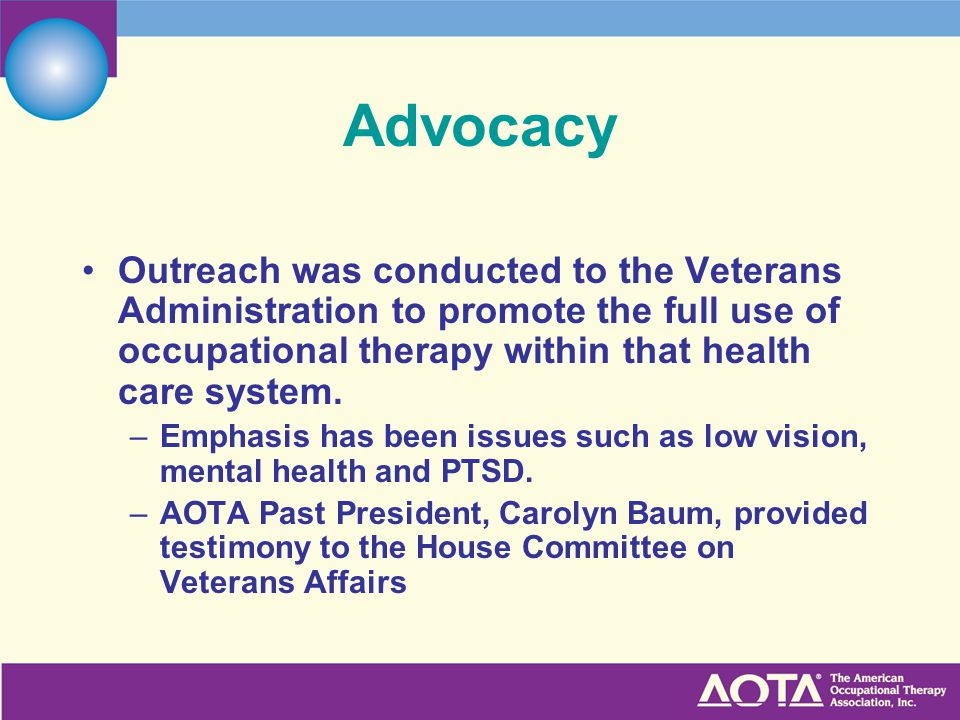 Advocacy Outreach was conducted to the Veterans Administration to promote the full use of occupational therapy within that health care system.