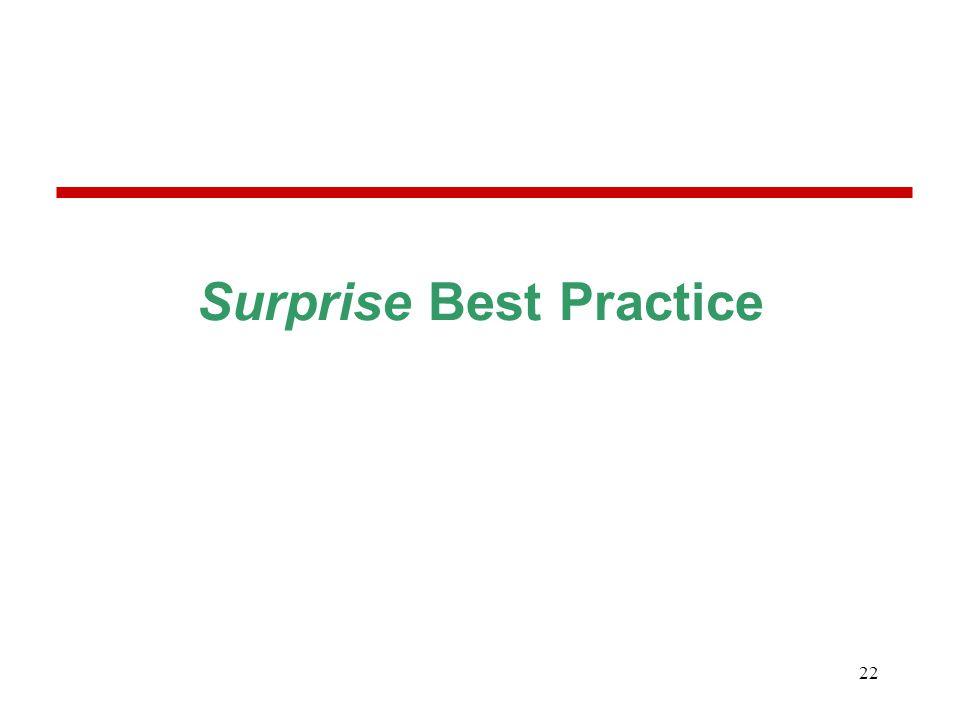 22 Surprise Best Practice