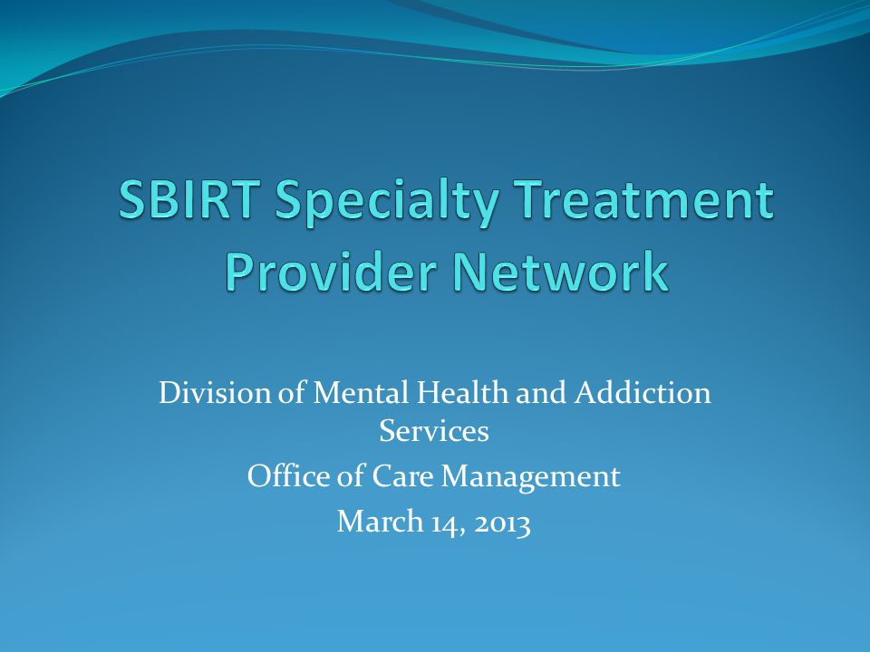 Division of Mental Health and Addiction Services Office of Care Management March 14, 2013