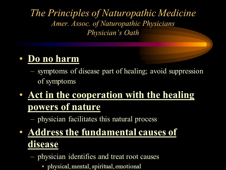 The Principles of Naturopathic Medicine Amer. Assoc. of Naturopathic Physicians Physician's Oath Do no harm –symptoms of disease part of healing; avoi