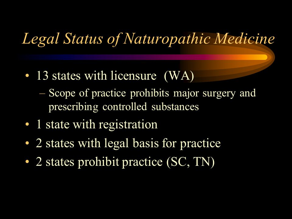 Legal Status of Naturopathic Medicine 13 states with licensure (WA) –Scope of practice prohibits major surgery and prescribing controlled substances 1