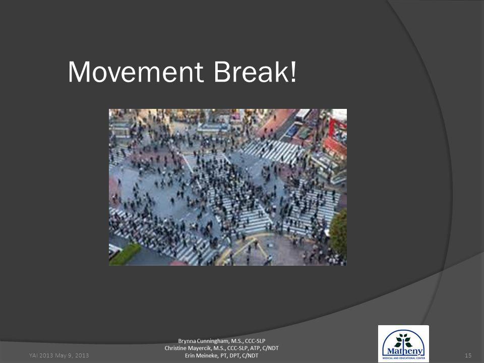 YAI 2013 May 9, 201315 Movement Break!