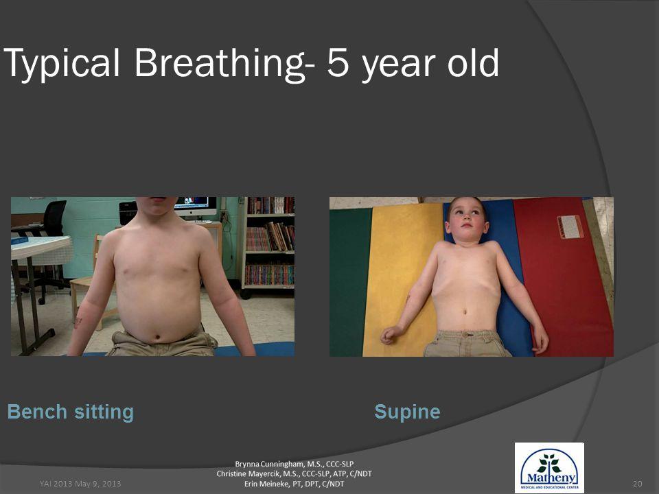 YAI 2013 May 9, 201320 Typical Breathing- 5 year old Bench sittingSupine