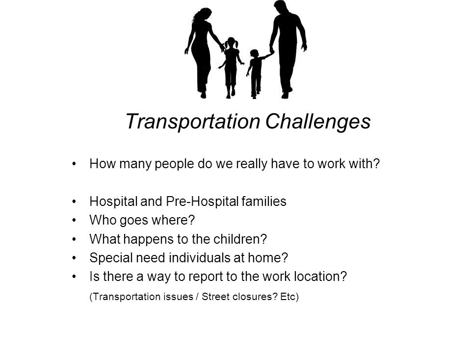 Transportation Challenges How many people do we really have to work with.