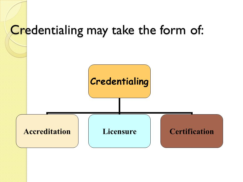 Credentialing AccreditationLicensureCertification Credentialing may take the form of: Credentialing may take the form of: