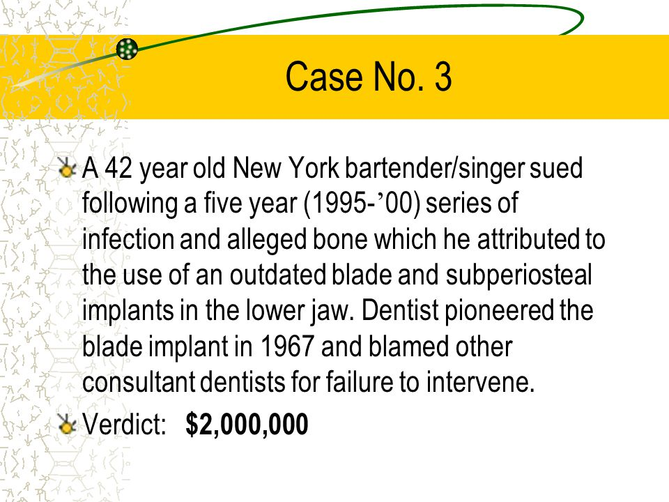 Case No. 2 Patient sought treatment for her wisdom teeth from a dentist.